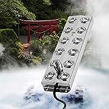 SEAAN Mist Maker - Humidificador ultrasónico de aire con 12 cabezas, fuente de agua y niebla de acero inoxidable, para uso en restaurantes