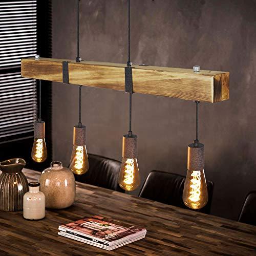 Lámpara de mesa de comedor colgante vintage de madera clara con vigas de madera de 80CM, 4 x E27 máx. 25 vatios, Lámpara colgante industrial regulable en altura para comedor, cocina, bar, restaurante