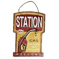【USA アメリカン デザイン】STATIONガレージ サインボード ビンテージ バイカー インテリア 看板;AVSB-029