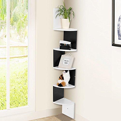 GOTOTOP, Bücher-Eckregal mit 5 Regalböden zur Wandaufhängung, 20x 20x 120cm