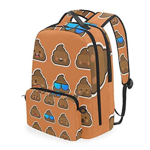 Funny Smiling Poop Emoticon Face Mochila Desmontable Estudiante Escuela Bolsa Casual Viaje Senderismo Camping Laptop Daypack