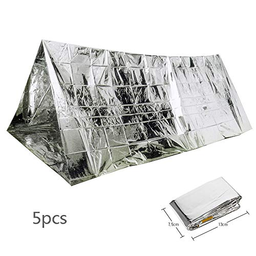 5 PCS Emergency Thermal Tent, Survival Slaapzak Emergency, Gesloten Ramp Survival, Compact lichtgewicht Wandelen Camping Backpacking Shelter