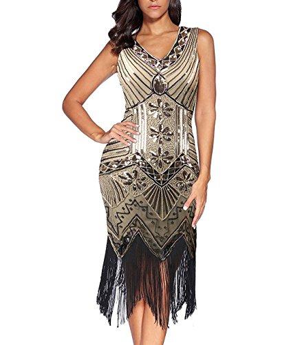 Flapper Vestidos de Mujer de los años 20 con Cuello en V con Cuentas de Flecos Great Gatsby Dress Años 20 Estilo Vintaje Vestido 1920s Gatsby Vestido Flapper