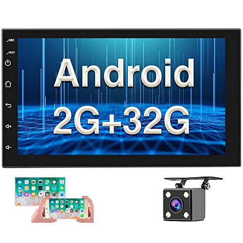 [2G+32G] Double Din Android Car Stereo with GPS 7 Inch Capacitive Touch Screen FM Radio Reciever Supports Mirror Link Steering Wheel Remote Control WiFi Connect + Backup Camera