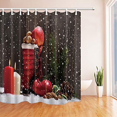 LRSJD Kerstdouchegordijnen voor badkamerkaarsen en laarzen, met cadeaus, sneeuwvlokken, achtergrond van polyester, waterbestendig, haak voor douchegordijnen inclusief 71 x 71 inch