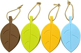 Silicone Door Stopper Wedge Finger Protector, 4 Pack Premium Cute Colorful Cartoon Leaf Style Flexible Silicone Window/Door Stops Set with Lanyard for Home Garden Office (Leaves Doorstop)