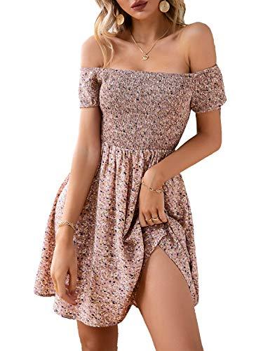 Miessial Women's Cute Off Shoulder Print Mini Dress Summer Casual Short Sleeve Swing Dress Pink 4-6