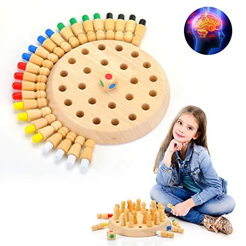 EKKONG Juego de Memoria de Madera, Ajedrez de Memoria, Juguete de Madera, Ajedrez de Memoria Montessori para Niños, Juegos de Memoria para Niños