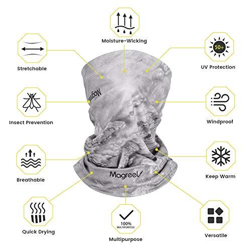 Magreel Scaldacollo Moto Versatile Uomo Donna Fasce Copricapo Elastico Estivo Invernale Maschera di Protezione UPF 50+Traspirante Antivento Multifunzionale per Ciclismo Sci Pesca