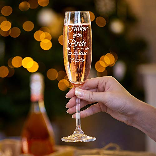 Champagnerflöte, personalisierbar, für den Vater der Braut, mit Gravur