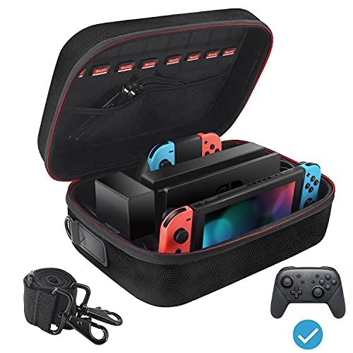VORI Tasche für Nintendo Switch, Harte Schutztasche für Switch Große Tasche kann mehrere Griffe aufnehmen und Tasche Dock, Tragetasche mit 18 Spielkassetten, Schwarz