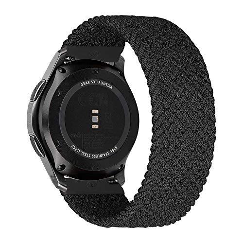 MroTech Kompatibel mit Samsung Gear S3 Frontier/Galaxy Watch3 45mm/Galaxy Watch 46mm Armband 22mm Uhrenarmband Nylon Ersatzarmband für Huawei Watch GT/GT2 46 mm Band Elastic Woven Loop-Kohlenschwarz/S