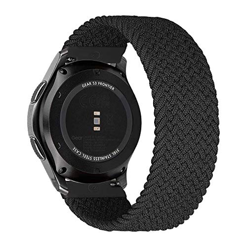 MroTech Compatible con Huawei Watch GT 2 46 mm/GT 2e/GT2 Pro Correa Nailon 22mm Pulseras Repuesto para Samsung Galaxy Watch 3 45mm/Gear S3 Frontier/Galaxy 46mm Banda Nylon Woven Loop Deportiva-Negro/S