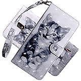 COTDINFOR Nokia 2.2 Hülle 3D-Effekt Painted cool Schutzhülle Flip Bookcase Handy Tasche Schale mit Magnet Standfunktion Etui für Nokia 2.2(2019) Smiley Cat BX.