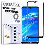REY - Protector de Pantalla Curvo para Huawei Y7 Pro 2019 - Y7 Prime 2019 - Enjoy 9, Negro, Cristal Vidrio Templado Premium, 3D / 4D / 5D