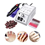 Wodesid Nail Drill Machine Electric Nail File Drill Set Kit with Sanding Bands Low Noise Vibration for Acrylic Nails, Gel Nail Art Polisher Sets Glazing Manicure Grinder Tool (20000RPM Nail Drill)