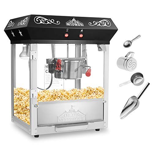 Olde Midway Bar Style Popcorn Machine Maker Popper with 6-Ounce Kettle - Black