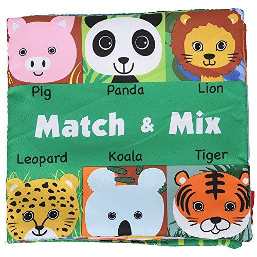 Libro de baño de tela suave para bebé, actividad de educación temprana, libro a juego con cara de animal arrugado, desarrollo de inteligencia