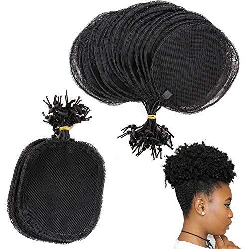 Lot de 5 filets à cheveux pour queue de cheval Afro Bouffant Filet à chignon Outil de fabrication de perruque Rond Carré Rond