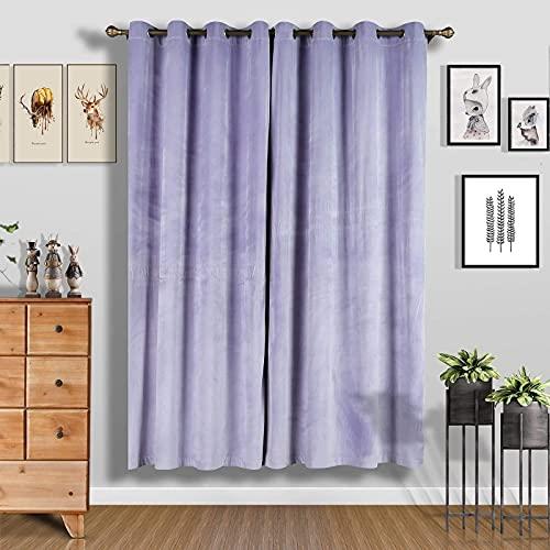 Balsa Circle 2 pcs 52inch x 96inch Lavender Soft Velvet Blackout Window Curtains Drapes Panels