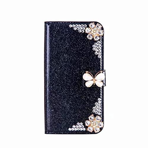 Funda tipo cartera para Samsung Galaxy A22 4G Premium Bling Glitter [cierre magnético] a prueba de golpes, piel sintética, con función atril y ranuras para tarjetas], color negro