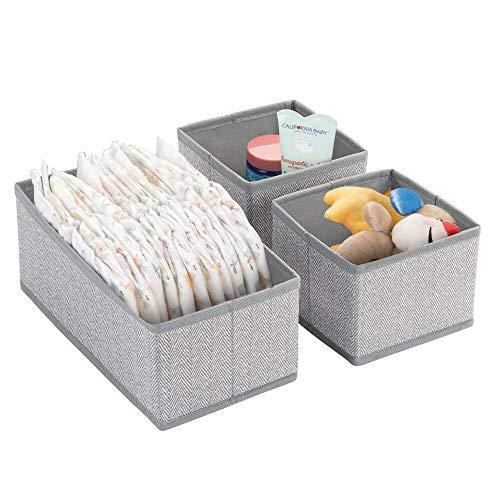 mDesign 3er-Set Aufbewahrungsboxen für Kleidung, Babysachen usw. – Kinderzimmer Aufbewahrungsbox aus Stoff – Kinderschrank Organizer – grau