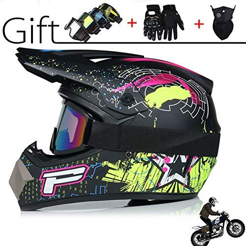 Mode Motocross Helm, BMX Anti-Collision Racing Helm, Off-Road-Motorrad-Sturzhelm für Erwachsene mit Schutzbrillen Waschlappen Handschuhe, schlagzäh Vier Jahreszeiten Hardhat Jugend Scooter Helm,2,L