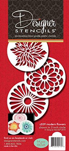 Designer Schablonen C559modernes Blumenmuster Cookie Schablonen-Set, beige/halbtransparent