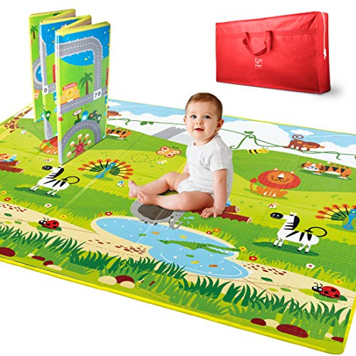 Hape E8372 5 x 5-Foot Large 2 Sided Reversible Town & Jungle Baby Activity Foam Foldable Play Mat