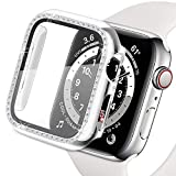 Yolovie Compatible for Apple Watch Case with Screen Protector 44mm for SE Series 6 5 4, Bling Cover Crystal Diamonds Rhinestone Bumper Protective Frame for iWatch Girl Women (44mm Silver)
