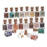 PandaHall 19 Farben Mini Glas Wunschflaschen, Ungebohrte Getrommelte Edelstein-Kristallchips, Die Reiki-Steine Heilen, Setzen Für Anhänger Halskette Schmuck, Der Kerzen Herstellt, Hauptdekoration