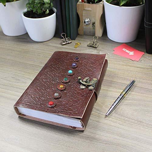 7 STONE Embedded dunkles Leder Cooper Lock Blank Notizbuch Journal 9x5 Büromaterial Skizzenbuch Geschenk für den Alltag Uni College