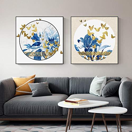 IGNIUBI Nórdico Abstracto Flor Azul Mariposa Dorada Moderno Lienzo Pintura Pared Arte Cartel impresión Pintura Abstracta Imagen Decorativa 50X50cmx2 sin Marco