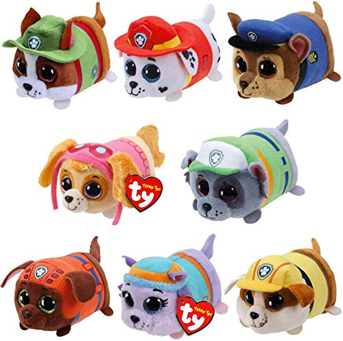 TY Beanie Boos 4' Teeny Tys Paw Patrol TY Stackable Plush - Complete Set of 8 Chase, Marshall, Rubble, Skye, Zuma, Rocky, Everest and Tracker