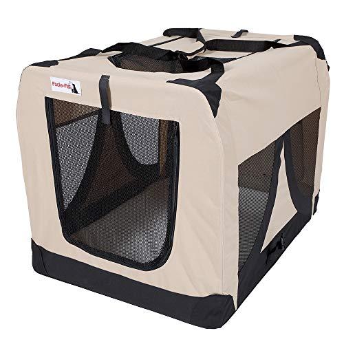 Pocky- Pet Hundetransportbox beige Nylon 600DD Autotransportbox Transportbox faltbar Federsystem Hundebox waschbar XXXL # 102 x 69 x 69cm