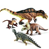 GYBBER&MUMU PVC 3D Dinosaur Toy Set Solid Realistic Looking Dinosaur Figure Toys (4 Pieces)