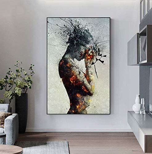 RTYRT Lienzo Pared Art Póster de niña de Fuego de explosión Abstracta, Pintura en Lienzo, póster nórdico, impresión de Gran tamaño, Arte de Pared para Sala de Estar, salón gótico 40x50cm Sin Marco