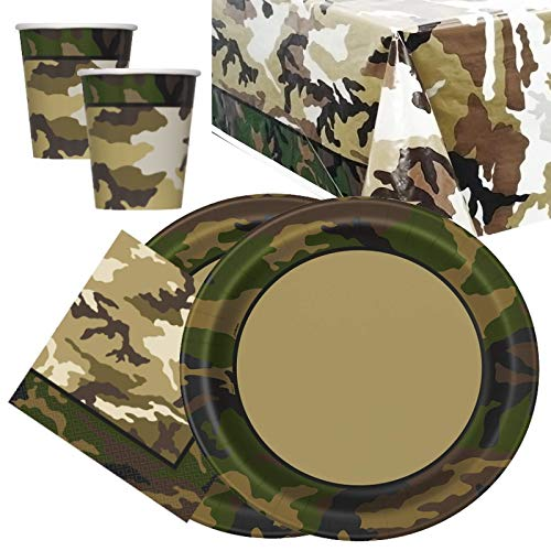 Militar Camo Party Vajilla Pack para 16