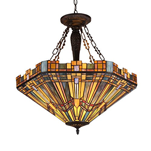 "Chloe Lighting CH36432MS24-UH3 Tiffany Saxon, Tiffany-Style 3 Light Mission Inverted Ceiling Pendant Fixture 24"" Shade, Multi"