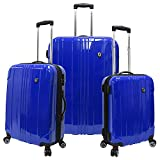Traveler's Choice Sedona 100% Pure Polycarbonate Expandable Spinner Luggage, Blue, 3-Piece Set