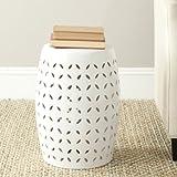 Safavieh Lattice Petal Ceramic Decorative Garden Stool, White