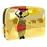 TIZORAX - Bolsa de maquillaje para mujer africana con paisaje de PVC, bolsa de maquillaje, artículos de aseo de viaje, práctico organizador para mujer