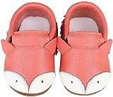 Vorgelen Baby Weiche Leder Lauflernschuhe Junge Mädchen Krabbelschuhe Kleinkind Lederpuschen Babyhausschuhe Enfants Rutschfesten Lernlaufschuhe - Rote Fuchs 18-24 Monate