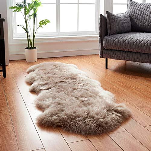 Alfombra suave de felpa australiana para dormitorio o mesita de noche (120 x 210 cm), suave al tacto, piel de borrego, marrón, 120*210cm(3.9*6.8ft)
