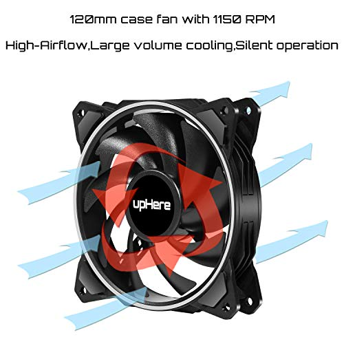 upHere Ventilator, 120 mm, RGB LED, hoher Luftstrom und leiser Lüfter, EN1206-3