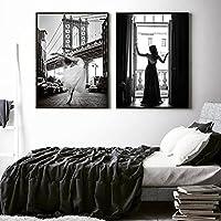 ブラックホワイトポスターアートプリントバレリーナ女性キャンバス絵画写真北欧の壁の写真リビングルームの家の装飾(40x60cm)2pcsフレームレス