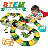 EpochAir Dinosaur Toys - Dinosaur World Road Race, Flexible Track Toy Set for 3 4 5 Year Old Boy...