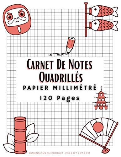 Carnet De Notes Quadrillés: Papier Millimétré 120 Pages Quadrillé, Cahier Quadrillé, Cahier de Dessin Pixel Art Pour Enfants ou Adultes, Bloc-Notes ... Millimètres, Grand Format, Edition Français