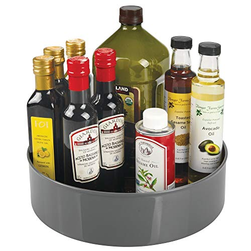mDesign plateau tournant pour épices, condiments, etc. – rangement de cuisine pour placard, armoire ou plan de travail – carrousel cuisine en plastique avec bord très élevé – gris anthracite