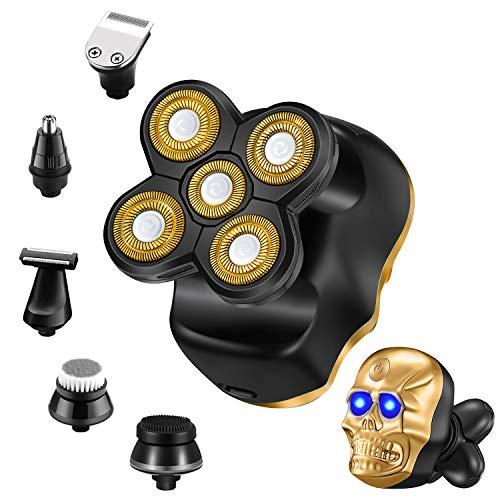 Roziapro Rasoio Uomo 6 in 1, Testa calva, Rasoio Elettrico Rotante 5D, Impermeabile, Wet&Dry, Regolabarba e Rifinitore Naso Orecchie, Kit di Bellezza Multifunzionale, Senza Fili, USB Ricaricabile